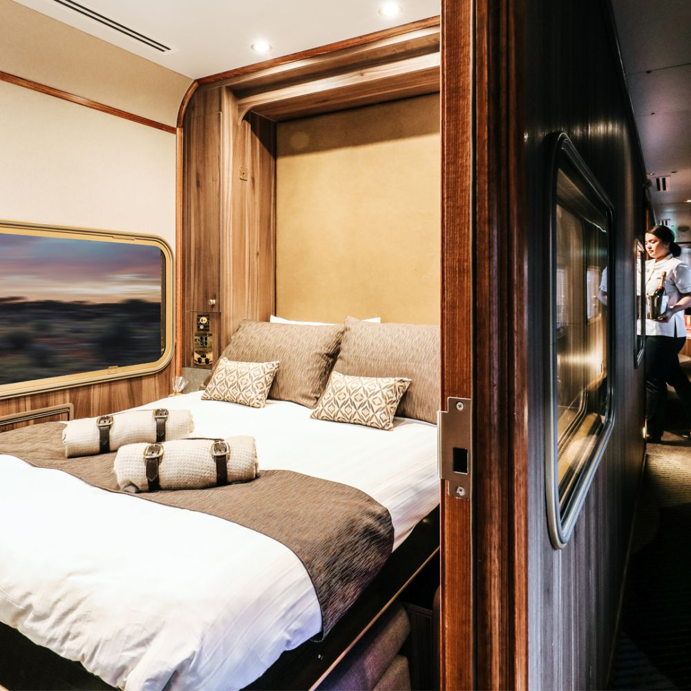 JBRE on train Platinum service platinum double room by nigh HA in passage way 1920